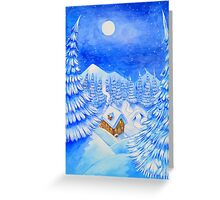 A little house in the snow Greeting Card