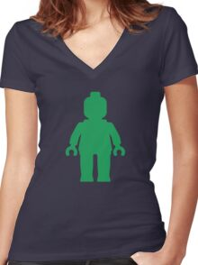 Minifig [Green]  Women's Fitted V-Neck T-Shirt