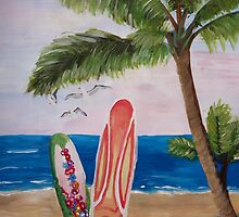 Caribbean Strand with Surfboards by artshop77