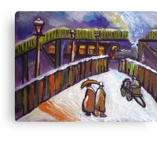 Railway station snowscene from my original acrylic painting Canvas Print