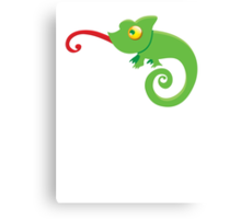 Green cute CHAMELEON with tongue licking Canvas Print
