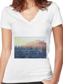 Salzburg Austria at Dusk Women's Fitted V-Neck T-Shirt