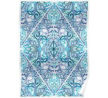 Blue and Teal Diamond Doodle Pattern Poster