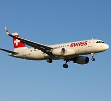 Swiss Airbus A320(SL) Landing In Sunset by Julia Gutgesell