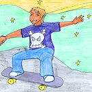 Skateboarder kid by Caroline Munday