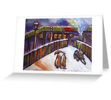 Merry christmas card Railway station snowscene from my original acrylic painting Greeting Card