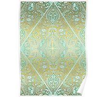 Mint & Gold Effect Diamond Doodle Pattern Poster