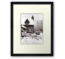 Mt. Baldy Cabin in a Snowstorm Framed Print