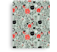 graphic natural pattern with birds Canvas Print