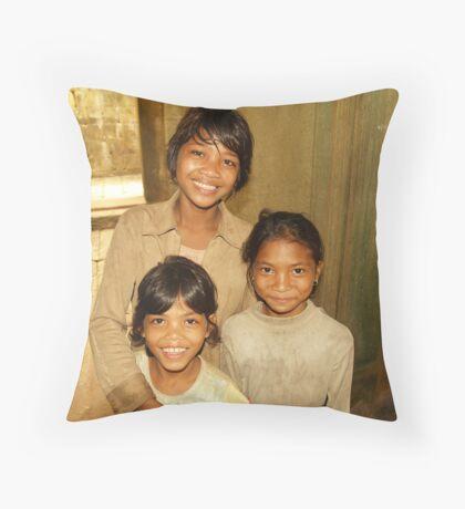 Cambodian Smiles Throw Pillow