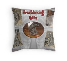 Breakdancing Kitty Throw Pillow
