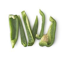 Sliced Green Bell Peppers Photographic Print