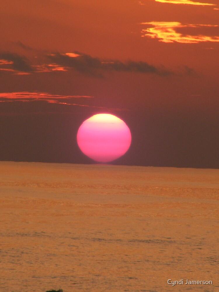 setting sun in orange  by Cyndi Jamerson