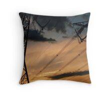 powerline sunset 2 Throw Pillow