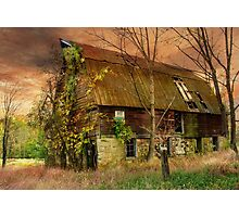 The Abandoned Barn at Sunset Photographic Print