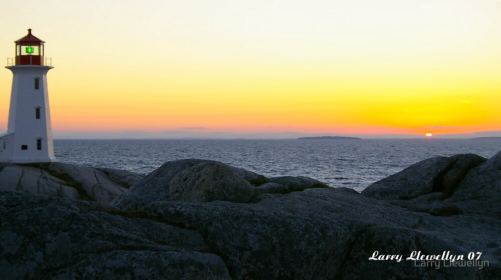 Dusk: at the Peggy's Cove Light House a Canadian Icon... by Larry Llewellyn