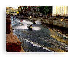 St. Petersburg Canal Runners Canvas Print