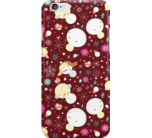 graphic winter pattern with snowmen iPhone Case/Skin