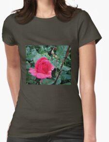 Pink Rose garden Womens Fitted T-Shirt