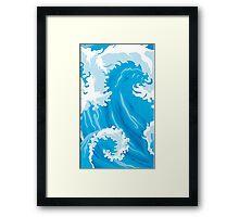 waves, sea, summer, vector, surfing, Framed Print