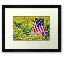 Flag in Flowers Framed Print