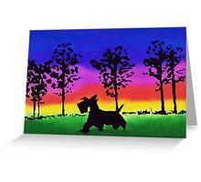 Scottie Dog 'Rainbow Park' Greeting Card
