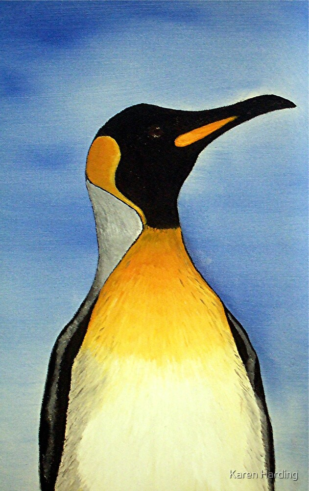 Penguin Oil Painting by Karen Harding