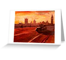 London Taxi Big Ben Sunset with Parliament Greeting Card