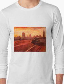 London Taxi Big Ben Sunset with Parliament Long Sleeve T-Shirt