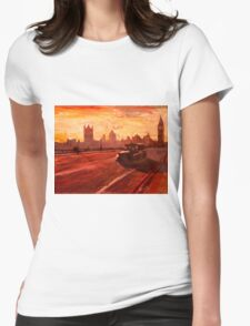 London Taxi Big Ben Sunset with Parliament Womens Fitted T-Shirt