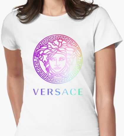 Versace color logo Womens Fitted T-Shirt