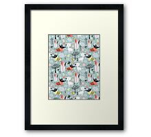 funny pattern of lovers dogs Framed Print