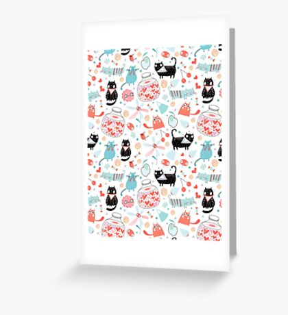 pattern of funny cats in love Greeting Card