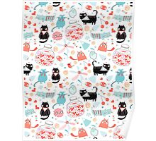 pattern of funny cats in love Poster