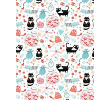 pattern of funny cats in love Photographic Print