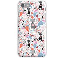 pattern of funny cats and drops iPhone Case/Skin