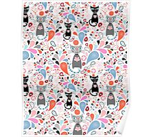 pattern of funny cats and drops Poster