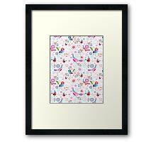 funny pattern of talking birds Framed Print