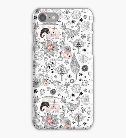 graphic floral pattern with elephants and birds iPhone Case/Skin