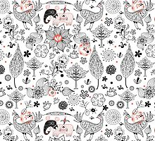 graphic floral pattern with elephants and birds by Tanor