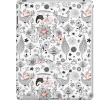 graphic floral pattern with elephants and birds iPad Case/Skin