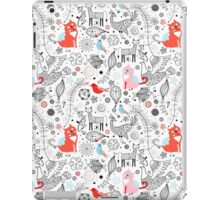 graphic floral pattern with cats and birds iPad Case/Skin