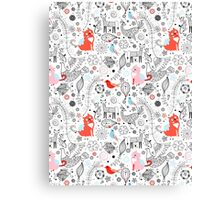 graphic floral pattern with cats and birds Canvas Print