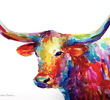 Colorful Texas Longhorn watercolor painting Svetlana Novikova by Svetlana  Novikova