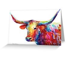Colorful Texas Longhorn watercolor painting Svetlana Novikova Greeting Card