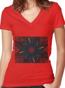 Blue and Gold Flower Women's Fitted V-Neck T-Shirt