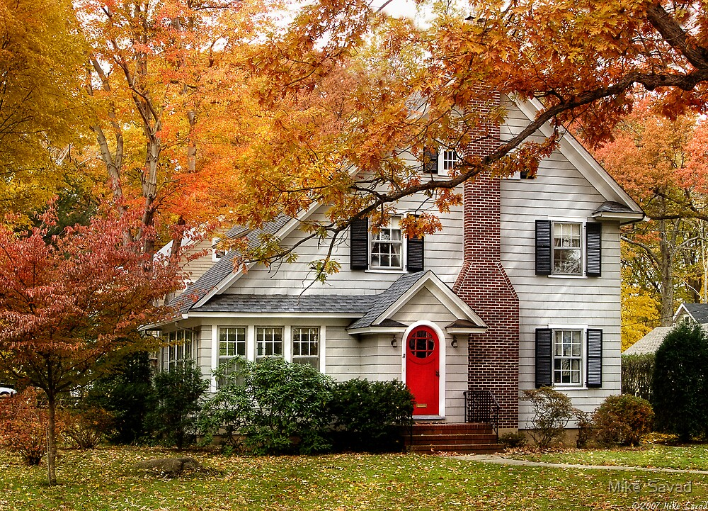 Autumn with a red door by Mike  Savad