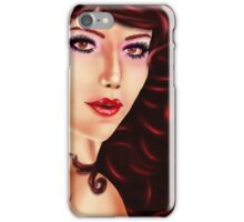 Woman with curly red hair iPhone Case/Skin