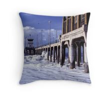 Huntington Beach Pier, Long Ago Throw Pillow