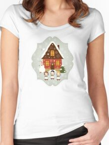 Little Carolers Christmas Card - Holiday Saying Women's Fitted Scoop T-Shirt